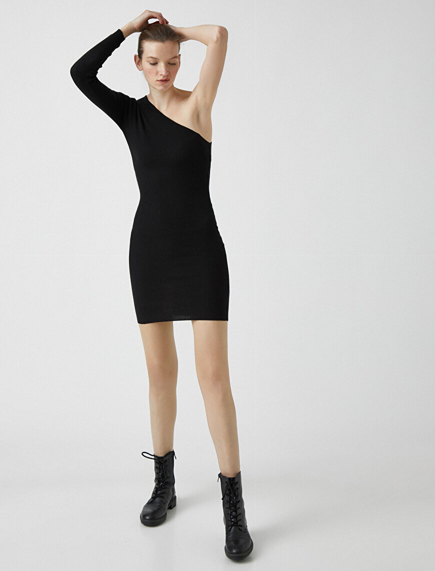 One Shoulder Tricot Mini Dress