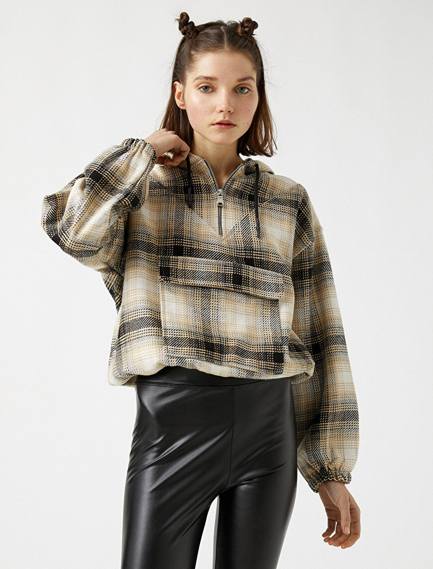 Checked Hooded Pocket Detailed Shirt