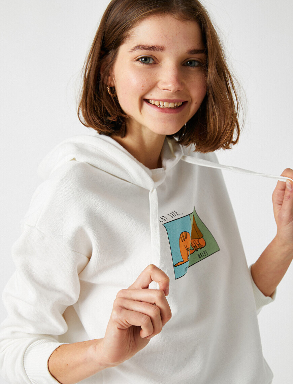 Cotton Hooded Printed Sweatshirt