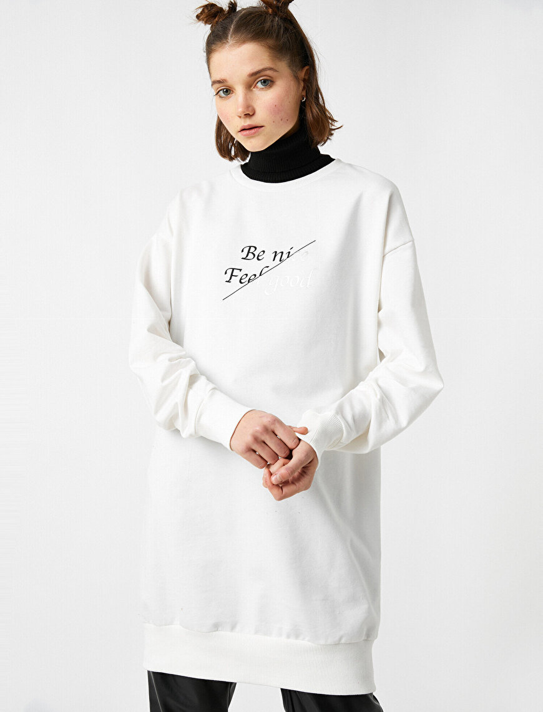 Cotton Crew Neck Letter Printed Long Sweatshirt