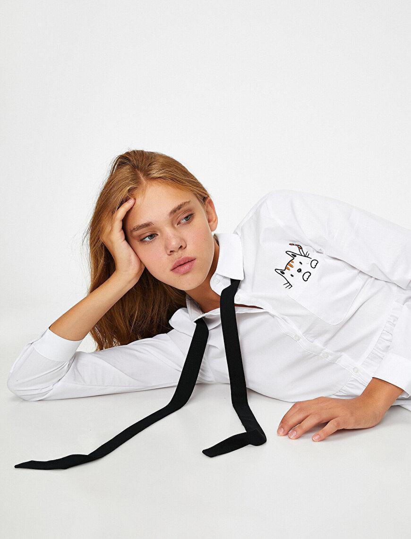 %100 Pamuk Uzun Kollu Hayvan Baskılı Gömlek