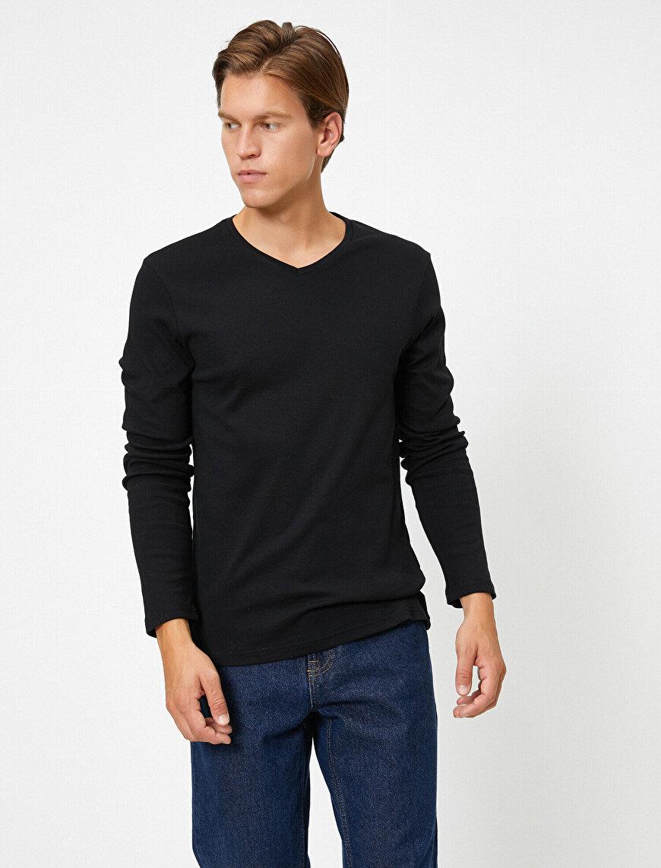 V Yaka Uzun Kollu Slim Fit Basic Tişört