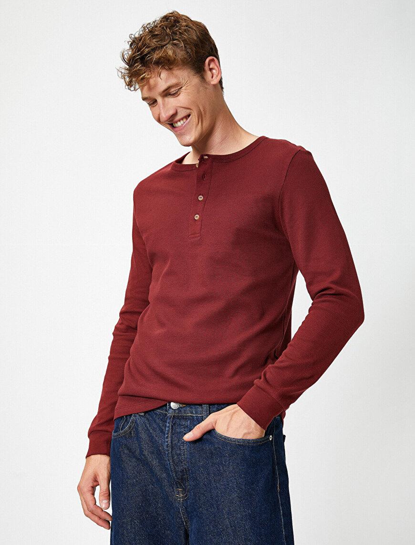 Pamuklu Düğmeli Yaka Uzun Kollu Slim Tişört