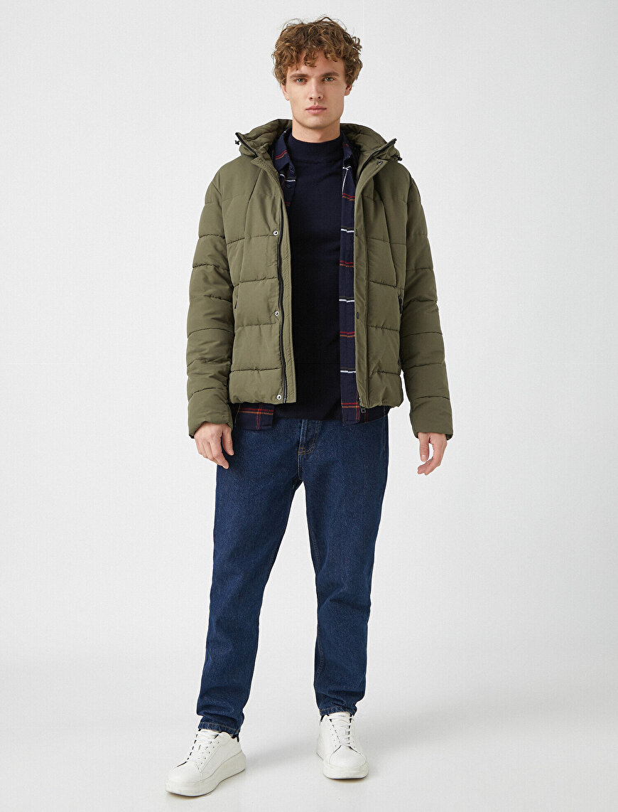 Hooded Zipper Button Pocket Detailed Coat