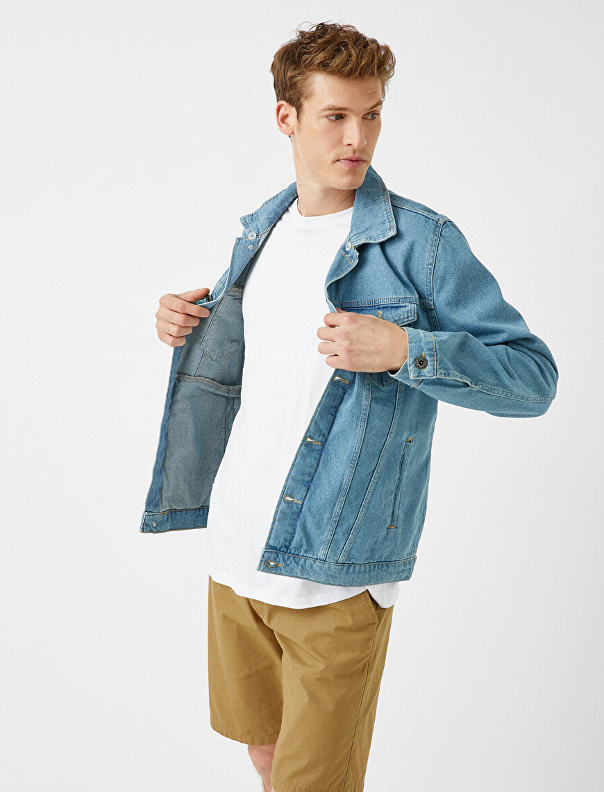 Cotton Sherpa Shirt Collar Pocket Detailed Jean Jacket