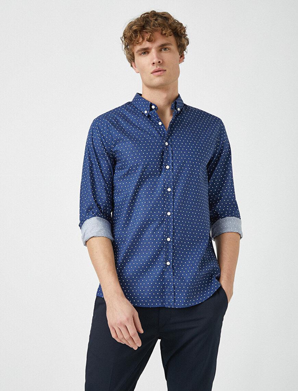 Klasik Yaka Uzun Kollu Baskılı Gömlek
