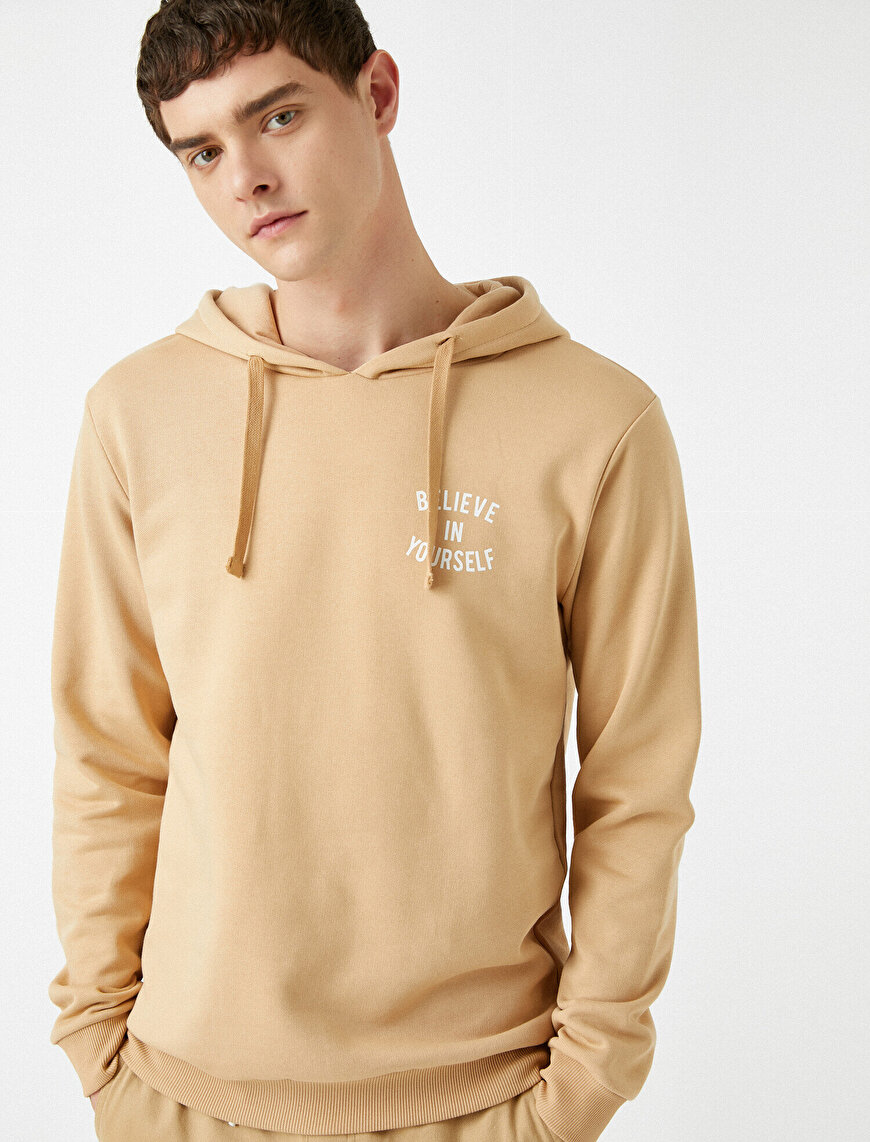 Letter Printed Hooded Sweatshirt