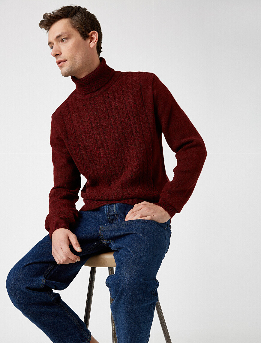 Turtle Neck Cable Knitted Jumper