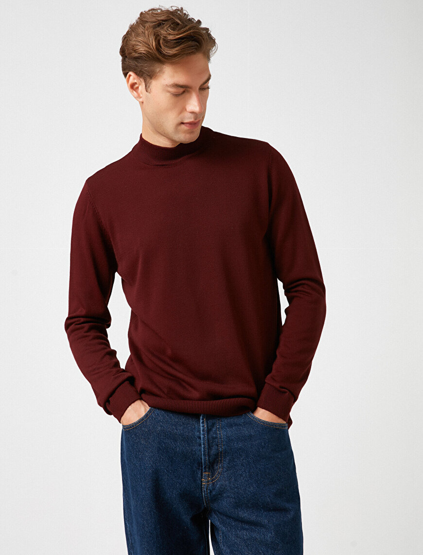 Long Sleeve High Neck Cotton T-Shirt