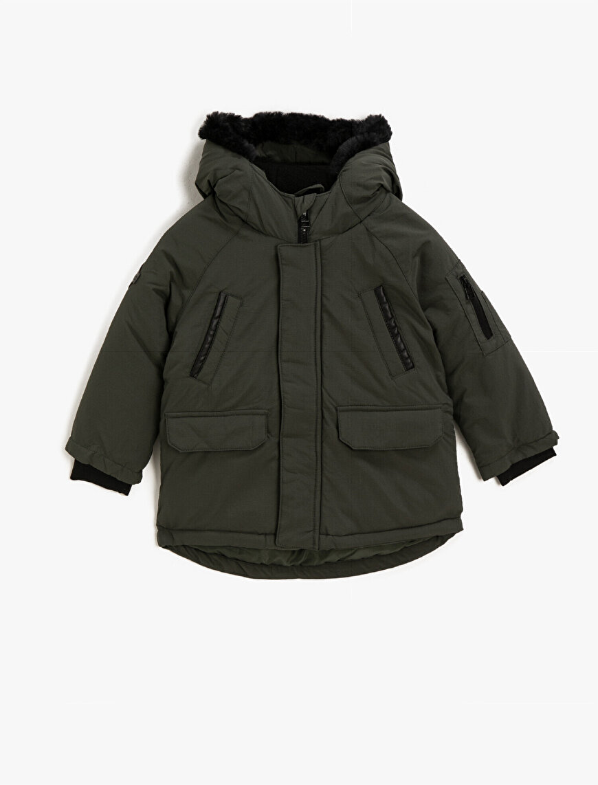Hooded Faux Fur Pocket Detailed Coat
