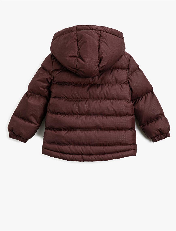 Hooded Pocket Detailed High Neck Zipper Puffer Coat
