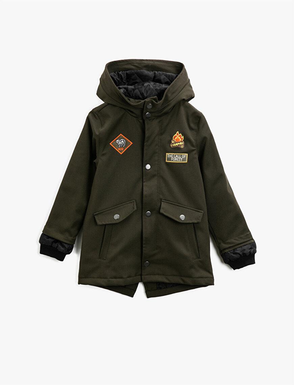 Hooded Pocket Detailed Embellished Coat