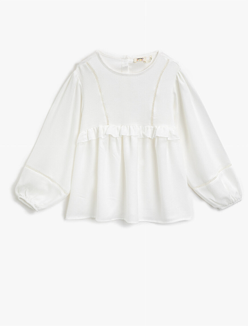 Frilled Crew Neck Long Sleeve Blouse