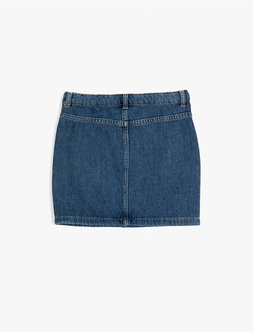 Cotton Pocket Detailed Zipped Jean Skirt