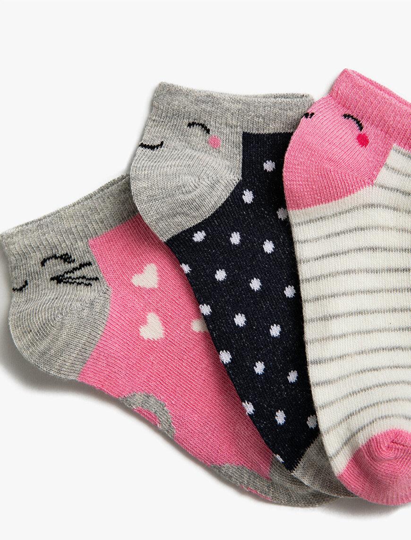 Girl 3 Pieces Patterned Cotton Socks Set