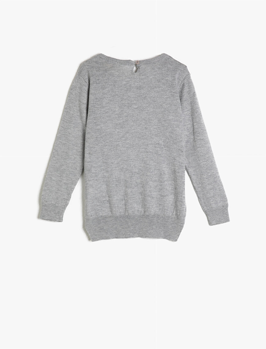 Crew Neck Long Sleeve Sequinned Sweater