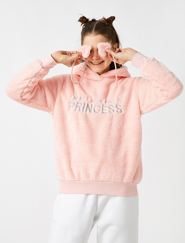 Kapüşonlu Peluş Slogan İşlemeli Pijama Üstü