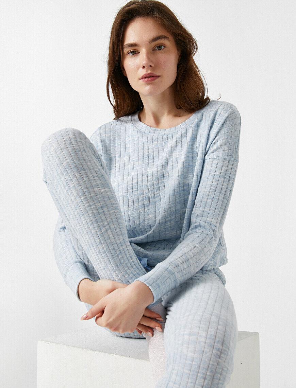 Uzun Kollu Bağcıklı Pijama Üstü