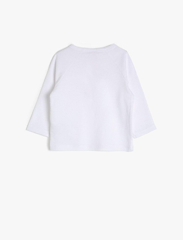 Düğme Detaylı Uzun Kollu %100 Pamuk Tişört
