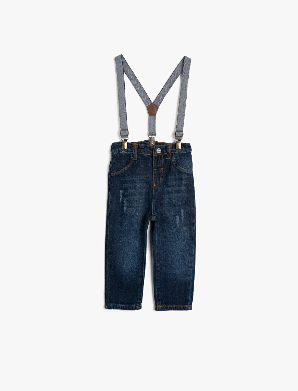 Cotton Suspender Detailed Jeans