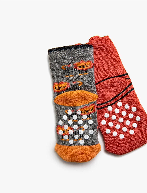 Erkek Bebek Desenli 2'li Çorap Seti