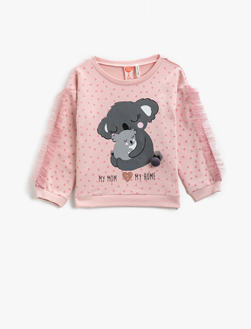 Cotton Printed Tulle Detailed Sweatshirt