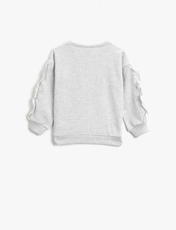 Frilled Printed Crew Neck Long Sleeve Sweatshirt