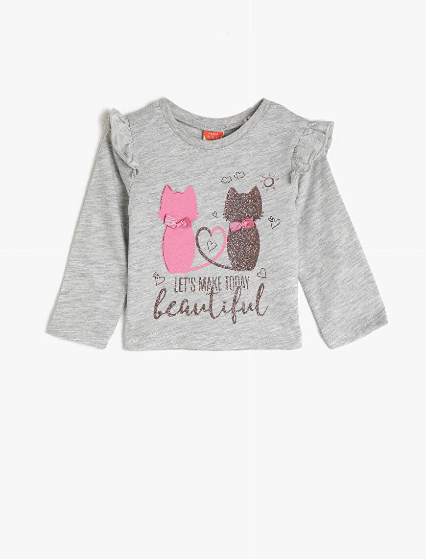 Crew Neck Long Sleeve Frilled Glitter Printed T-Shirt