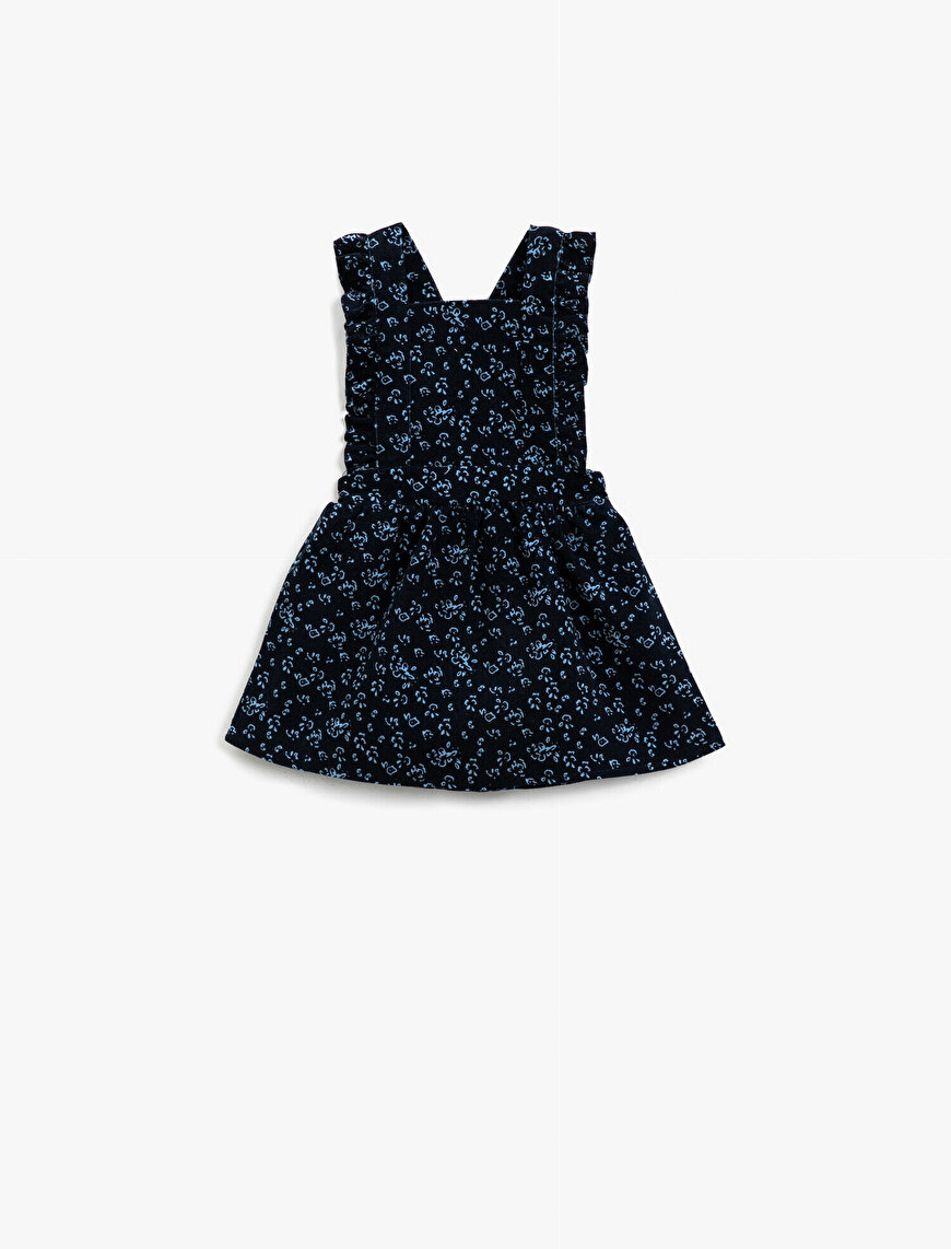 Cotton Patterned Frilled Sleeveless Dress