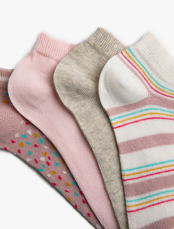 Kadın 4'lü Pamuklu Desenli Çorap Seti