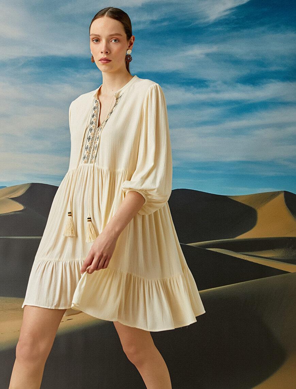 El Emeği - İşlemeli Elbise