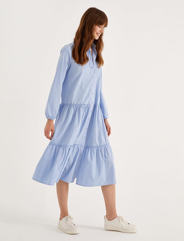 Gömlek Yaka Elbise Uzun Kollu Maxi Pamuklu