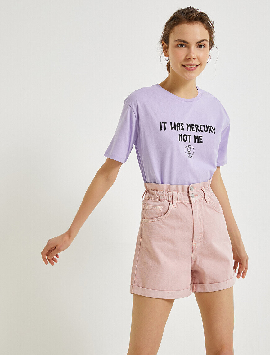 Letter Printed T-Shirt Crew Neck
