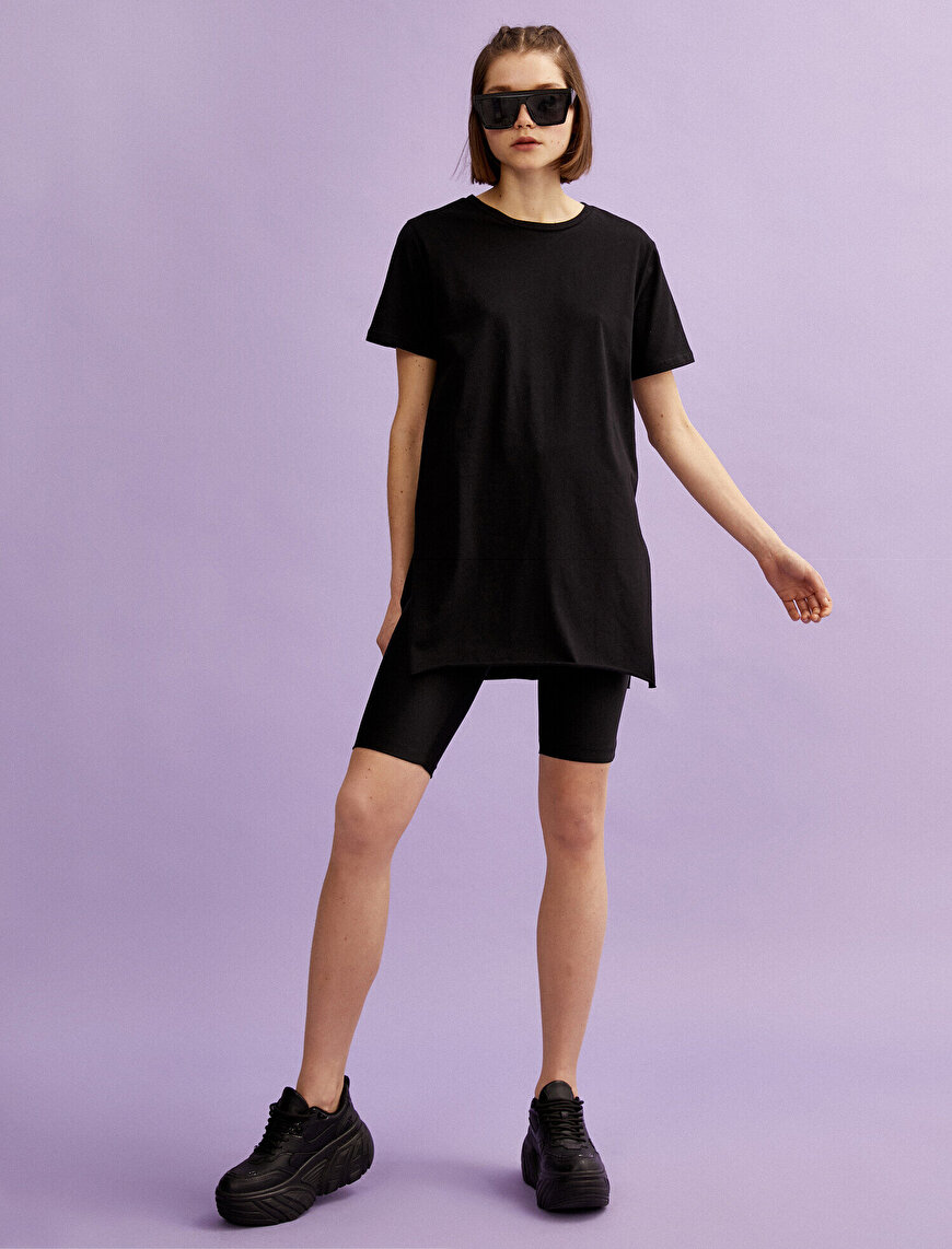 Long T-Shirt Crew Neck Short Sleeve Cotton