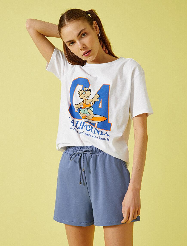 Letter Printed T-Shirt Crew Neck Cotton