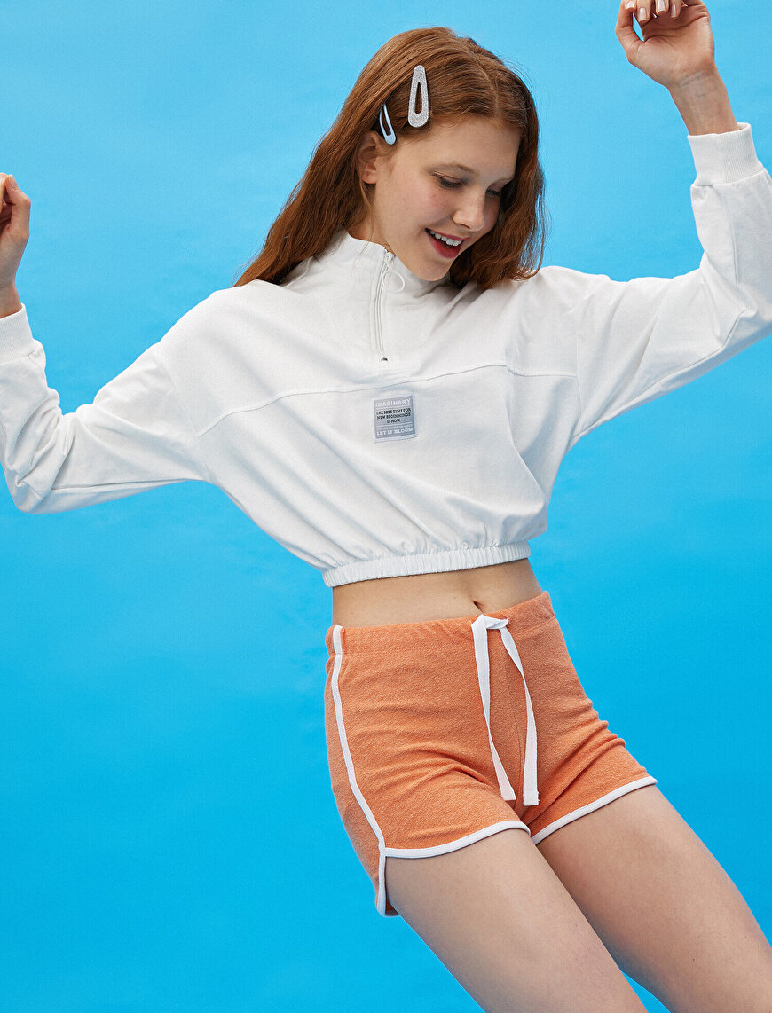 Cotton Stripe Detailed Fleece Shorts