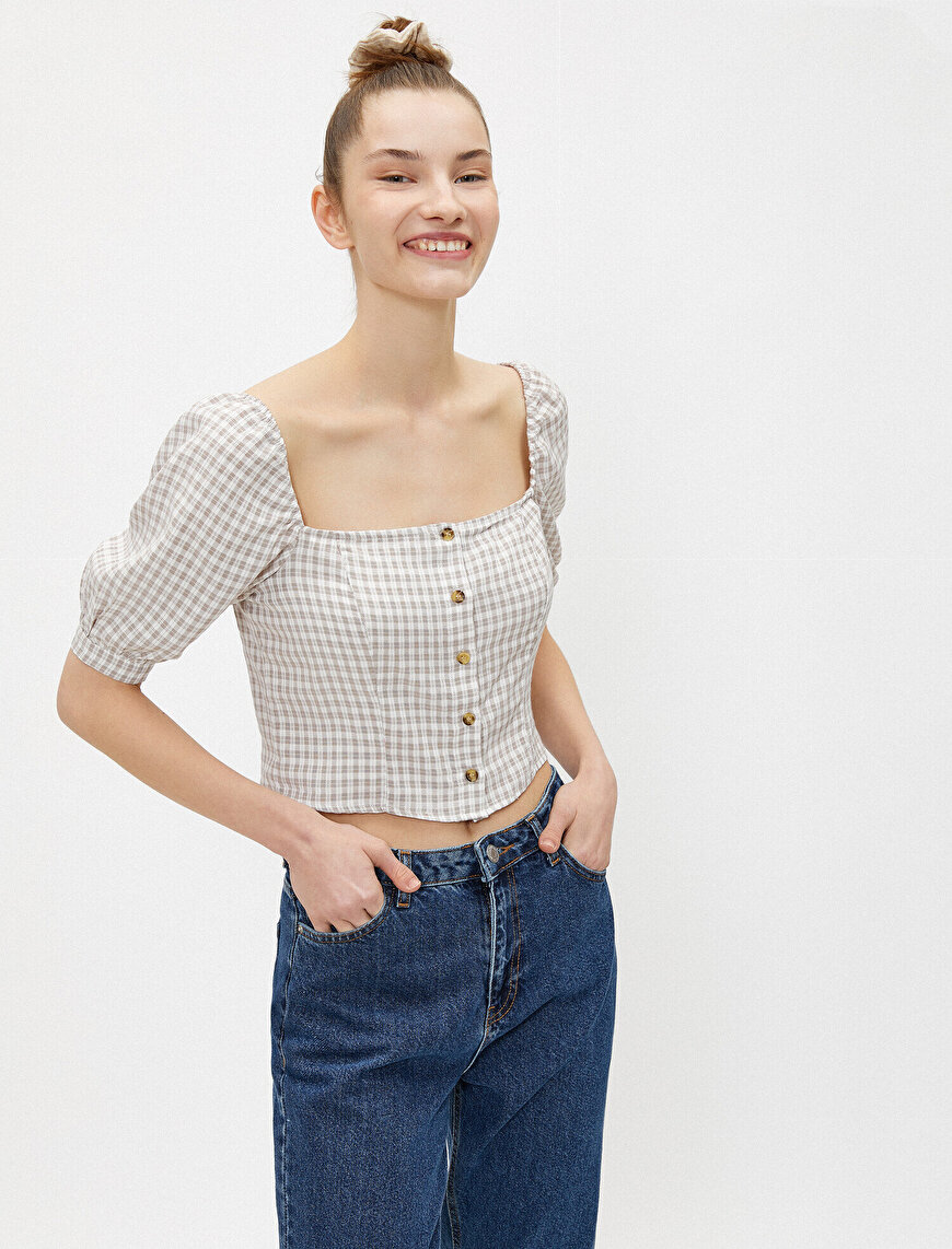 Puff Sleeve Blouse Checked Buttoned Square Neck