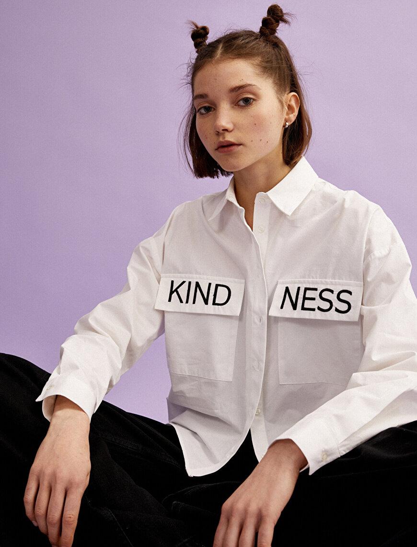 Yazı İşlemeli Gömlek Cepli Pamuklu