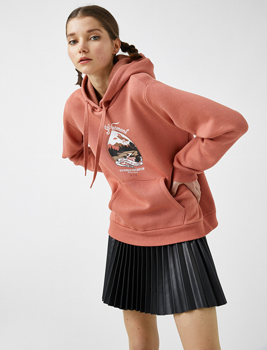 Cotton Hooded Printed Sweatshirt