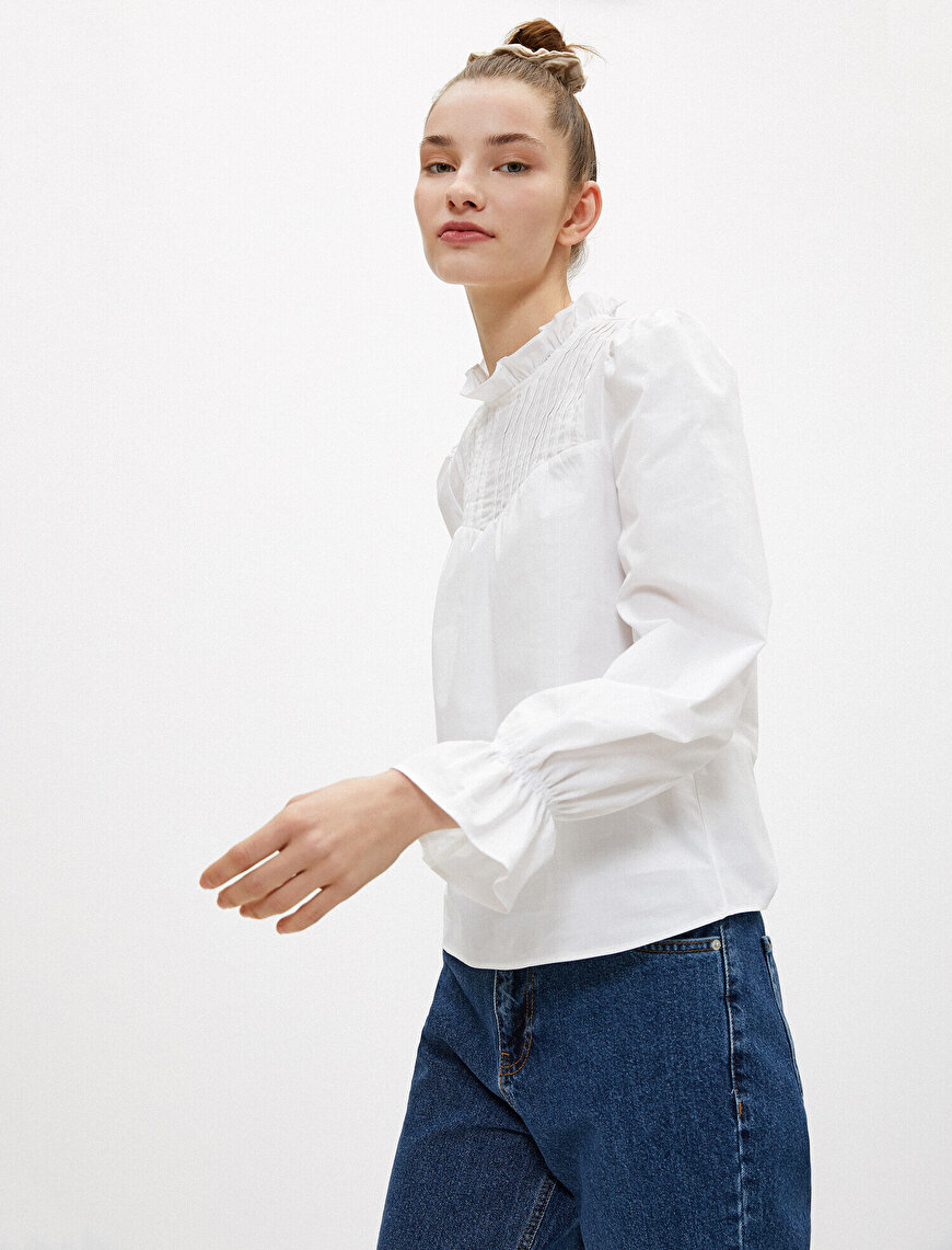 Frilled Blouse Long Sleeve Cotton