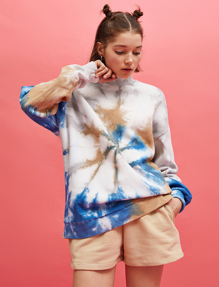 Cotton Stand Neck Batik Sweatshirt