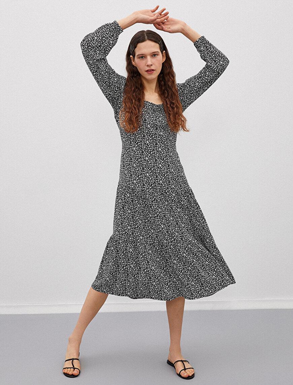 Floral Dress Long Sleeve Square Neck
