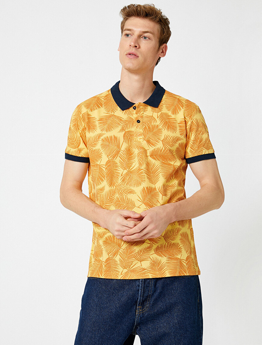 Polo Neck T-Shirt Patterned Cotton Short Sleeve