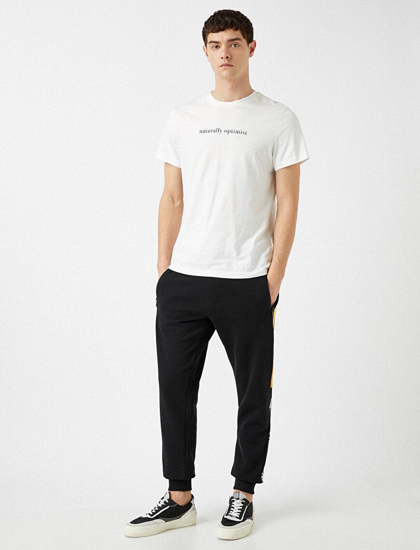 Striped Jogger Jogging Pants Letter Printed Cotton