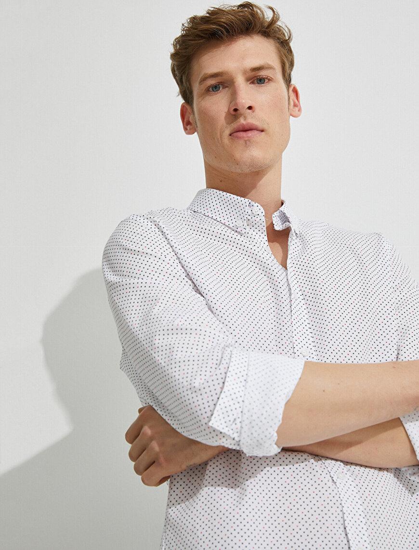 Desenli Gömlek Pamuklu Slim Fit Uzun Kollu