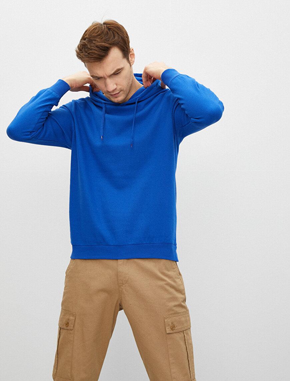 Kapüşonlu Pamuklu Uzun Kollu Basic Sweatshirt