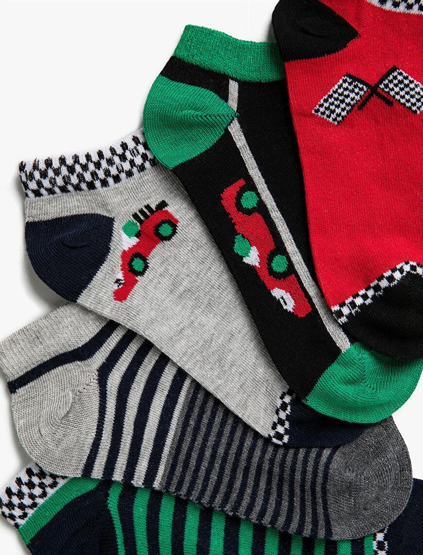 Erkek Çocuk Desenli Çorap Seti Pamuklu Çizgili