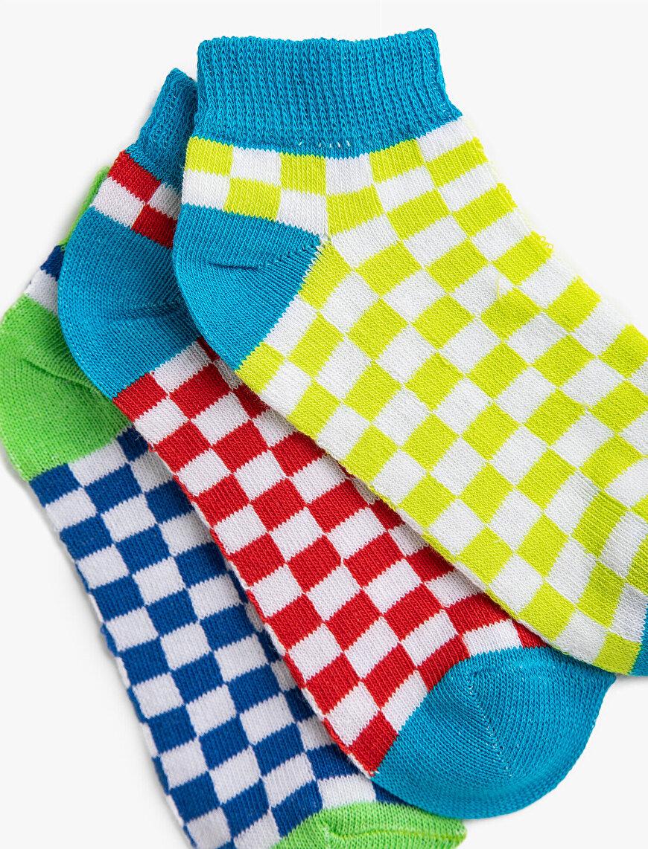 Erkek Çocuk Kareli Çorap Seti Pamuklu