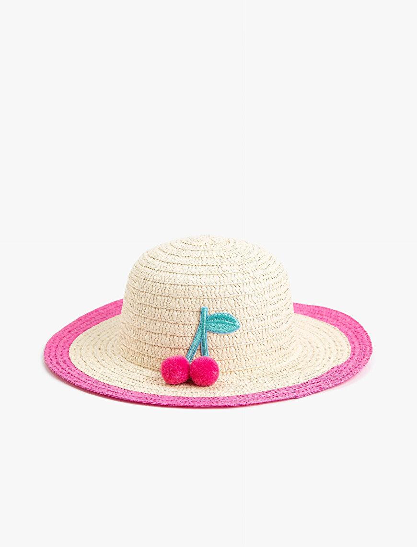 Kiraz Detaylı Hasır Şapka
