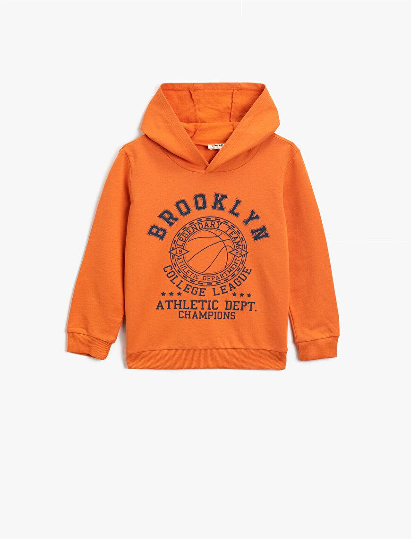 Pamuklu Kapüşonlu Baskılı Sweatshirt